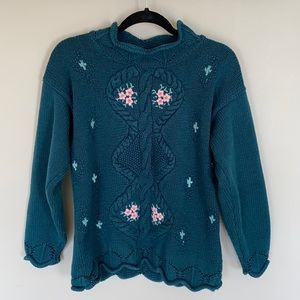 Vintage Weekend Edition Hand Knitted Green Sweater